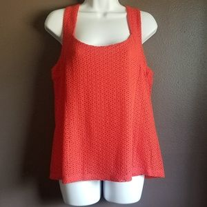 Banana Republican orange eyelet tank